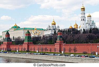 ściana, moskwa, kreml