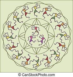 ściana, motyw, plemienny, tancerze, malarstwo, projektować, ...