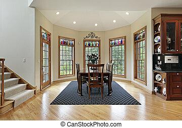 ściana, okna, śniadaniowy pokój