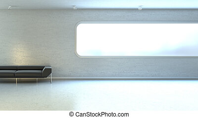 ściana, okno, copyspace, interrior