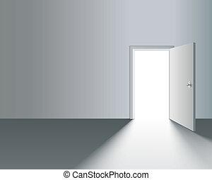 ściana, otwarte drzwi