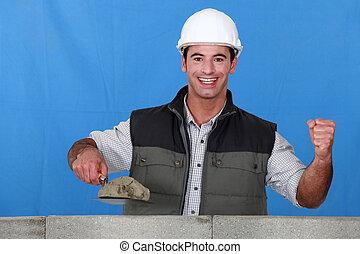 ściana, portret, zajęty, konstruowanie, kamieniarz