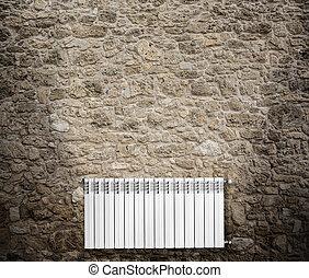 ściana, powiesić, na, grzejnik