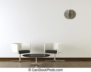 ściana, projektować, wewnętrzny, czarnoskóry, biały, meble