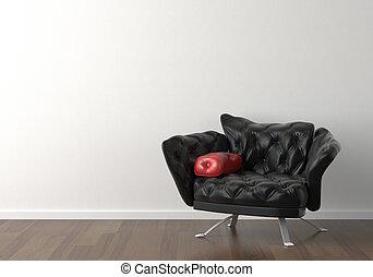 ściana, projektować, wewnętrzny, czarnoskóry, krzesło, biały