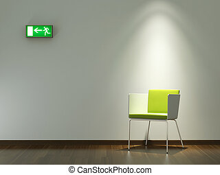 ściana, projektować, wewnętrzny, zieleń biała, krzesło