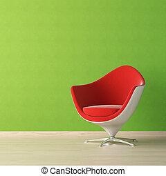 ściana, projektować, wewnętrzny, zielone krzesło, czerwony