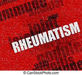 ściana, reumatyzm, medyczny, nowoczesny, concept:, czerwony