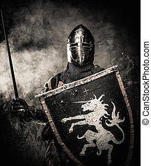 ściana, rycerz, kamień, średniowieczny, przeciw