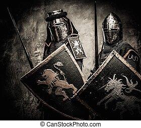 ściana, rycerze, kamień, średniowieczny, przeciw
