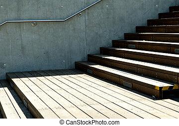 ściana, schody