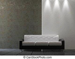 ściana, sofa