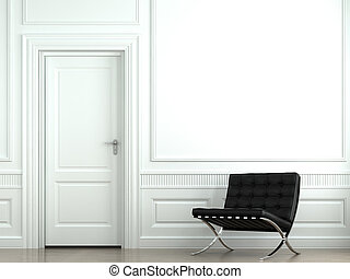 ściana, wewnętrzny, krzesło, projektować, klasyk