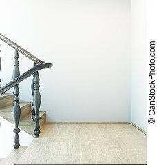 ściana, wewnętrzny, schody, opróżniać