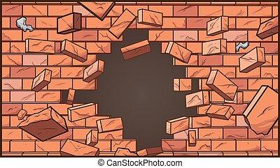 ściana, złamany