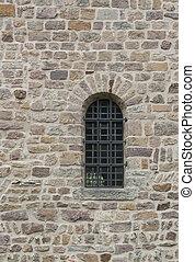 ściana, z, okratowany, okno