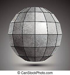 ścianka, grunge, stworzony, kula, object., wymiarowy, cynkować, abstrakcyjny, kwadraty