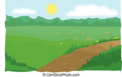 ścieżka, łąki
