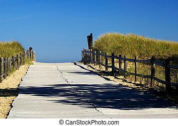 ścieżka, do, przedimek określony przed rzeczownikami, ocean
