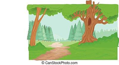ścieżka, las, drzewa