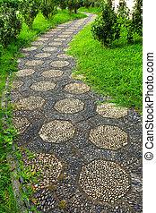 ścieżka, ogród, chińczyk