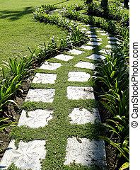 ścieżka, ogród, wybrukowany