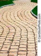 ścieżka, trawa, zielony