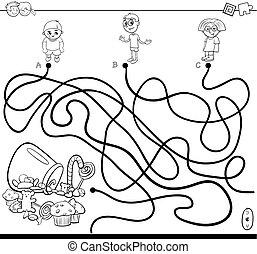 ścieżki, dzieciaki, cukierek, książka, zdezorientować, ...