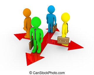 ścieżki, różny, biznesmeni