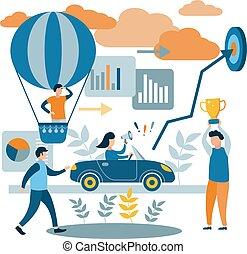 ścieżki, różny, pojęcie, liderzy, success., ludzie, osiągać, race., ich, wektor, losers, goals., płaski, illustration.