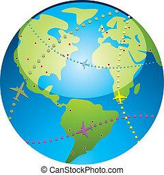 ścieżki, samolot, lot