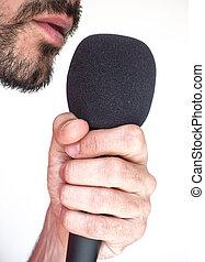 ścierń, szczelnie-do góry, mikrofon, usta, biały samczyk