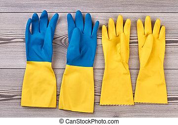 ścierka, drewniany, rękawiczki, tło.