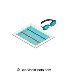 ślad, isometric, ikona, pływacki, 3d