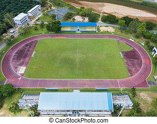 ślad, pole, piłka nożna, stadion