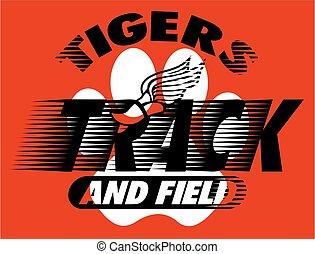 ślad, pole, tygrysy