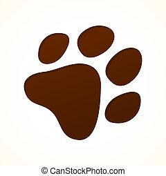 ślad stopy, brązowy