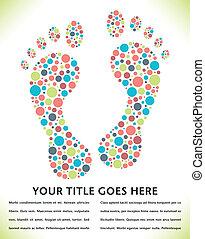 ślad stopy, circles., robiony, projektować