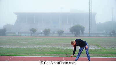 ślad, wykonując, atleta, samica, 4k, wyścigi