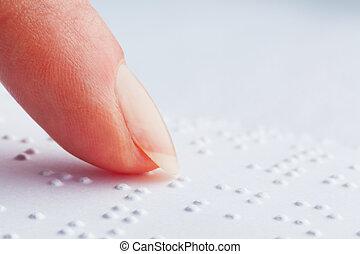 ślepy, braille., palce, read.