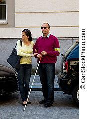 ślepy, kobieta, ulica, pomoce, człowiek