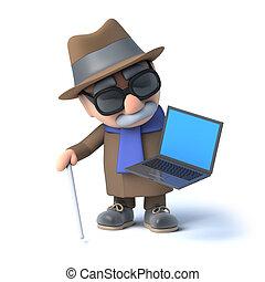 ślepy, laptop, 3d, pc, ma, człowiek