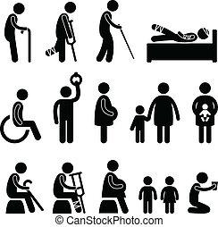 ślepy, stary, disable, pacjent, człowiek, ikona