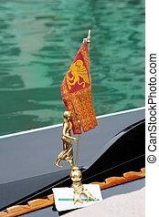 śliczny, łódka, skrzydlaty, gondola, bandera, city's, (venezia, ozdoba, venice:, lew, symbol:, italia)., typowy