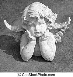 śliczny, anielski, statuetka