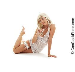 śliczny, blond, w, babydoll, bielizna