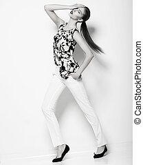 śliczny, elegancki, ekstatyczny, kobieta, w, biały, breeches., uroczy