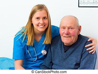 śliczny, jego, pacjent, starszy, doktor