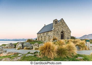 śliczny, kościół, na, jezioro tekapo, nowy zealand