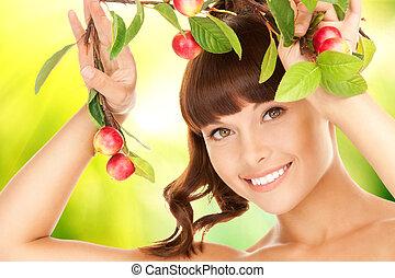śliczny, kobieta, gałązka, jabłko